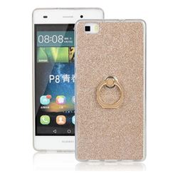 Luxury Soft TPU Glitter Back Ring Cover with 360 Rotate Finger Holder Buckle for Huawei P8 Lite P8lite - Golden