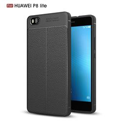 Luxury Auto Focus Litchi Texture Silicone TPU Back Cover for Huawei P8 Lite P8lite - Black
