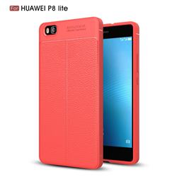 Luxury Auto Focus Litchi Texture Silicone TPU Back Cover for Huawei P8 Lite P8lite - Red
