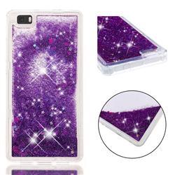 Dynamic Liquid Glitter Quicksand Sequins TPU Phone Case for Huawei P8 Lite P8lite - Purple