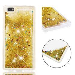 Dynamic Liquid Glitter Quicksand Sequins TPU Phone Case for Huawei P8 Lite P8lite - Golden