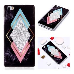 Black Diamond Soft TPU Marble Pattern Phone Case for Huawei P8 Lite P8lite
