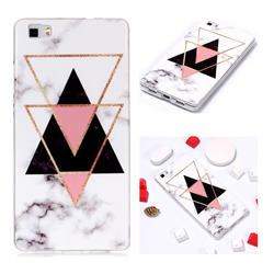 Inverted Triangle Black Soft TPU Marble Pattern Phone Case for Huawei P8 Lite P8lite