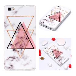 Inverted Triangle Powder Soft TPU Marble Pattern Phone Case for Huawei P8 Lite P8lite