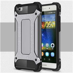 King Kong Armor Premium Shockproof Dual Layer Rugged Hard Cover for Huawei P8 Lite P8lite - Silver Grey