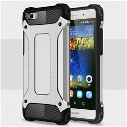 King Kong Armor Premium Shockproof Dual Layer Rugged Hard Cover for Huawei P8 Lite P8lite - Technology Silver