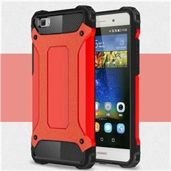 King Kong Armor Premium Shockproof Dual Layer Rugged Hard Cover for Huawei P8 Lite P8lite - Big Red