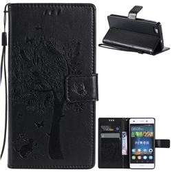Embossing Butterfly Tree Leather Wallet Case for Huawei P8 Lite P8lite - Black