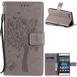Embossing Butterfly Tree Leather Wallet Case for Huawei P8 Lite P8lite - Grey
