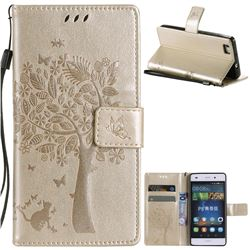 Embossing Butterfly Tree Leather Wallet Case for Huawei P8 Lite P8lite - Champagne
