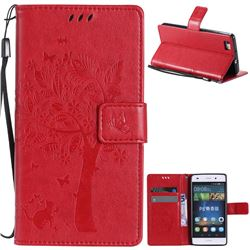 Embossing Butterfly Tree Leather Wallet Case for Huawei P8 Lite P8lite - Red