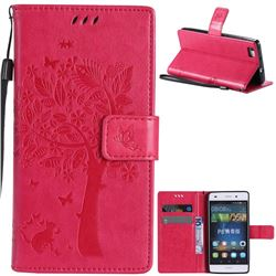 Embossing Butterfly Tree Leather Wallet Case for Huawei P8 Lite P8lite - Rose
