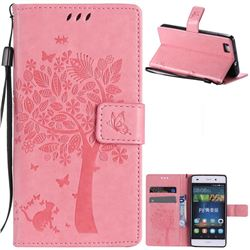 Embossing Butterfly Tree Leather Wallet Case for Huawei P8 Lite P8lite - Pink