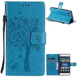 Embossing Butterfly Tree Leather Wallet Case for Huawei P8 Lite P8lite - Blue