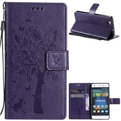 Embossing Butterfly Tree Leather Wallet Case for Huawei P8 Lite P8lite - Purple