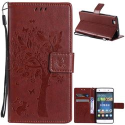Embossing Butterfly Tree Leather Wallet Case for Huawei P8 Lite P8lite - Brown