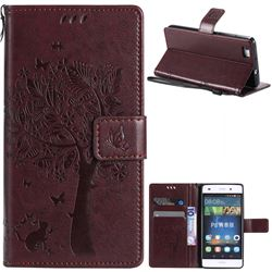 Embossing Butterfly Tree Leather Wallet Case for Huawei P8 Lite P8lite - Coffee