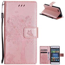 Embossing Butterfly Tree Leather Wallet Case for Huawei P8 Lite P8lite - Rose Pink