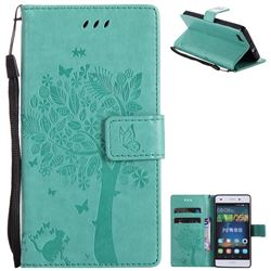 Embossing Butterfly Tree Leather Wallet Case for Huawei P8 Lite P8lite - Cyan