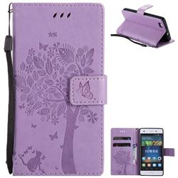 Embossing Butterfly Tree Leather Wallet Case for Huawei P8 Lite P8lite - Violet