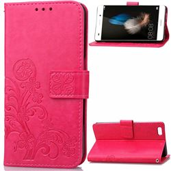 Embossing Imprint Four-Leaf Clover Leather Wallet Case for Huawei P8 Lite P8lite - Rose