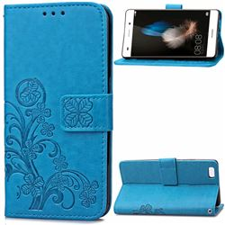 Embossing Imprint Four-Leaf Clover Leather Wallet Case for Huawei P8 Lite P8lite - Blue