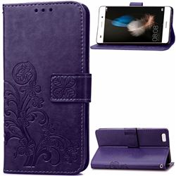 Embossing Imprint Four-Leaf Clover Leather Wallet Case for Huawei P8 Lite P8lite - Purple