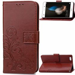 Embossing Imprint Four-Leaf Clover Leather Wallet Case for Huawei P8 Lite P8lite - Brown