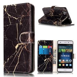 Black Gold Marble PU Leather Wallet Case for Huawei P8 Lite P8lite
