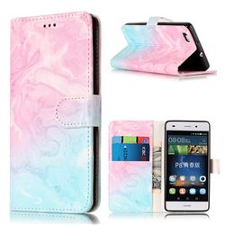 Pink Green Marble PU Leather Wallet Case for Huawei P8 Lite P8lite