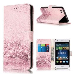 Glittering Rose Gold PU Leather Wallet Case for Huawei P8 Lite P8lite
