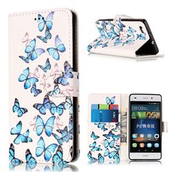 Blue Vivid Butterflies PU Leather Wallet Case for Huawei P8 Lite P8lite