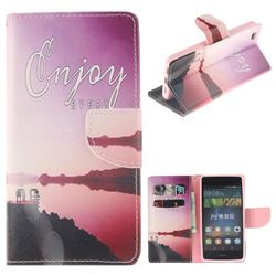 Seaside Scenery PU Leather Wallet Case for Huawei P8 Lite P8lite