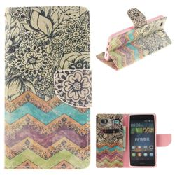 Wave Flower PU Leather Wallet Case for Huawei P8 Lite P8lite