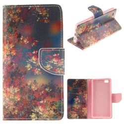 Colored Flowers PU Leather Wallet Case for Huawei P8 Lite P8lite
