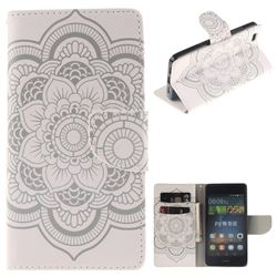 White Flowers PU Leather Wallet Case for Huawei P8 Lite P8lite