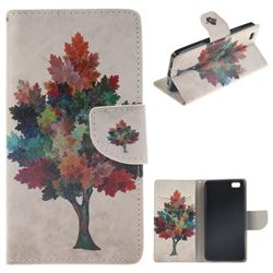Colored Tree PU Leather Wallet Case for Huawei P8 Lite P8lite