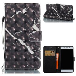 Black Marble 3D Painted Leather Wallet Case for Huawei P8 Lite P8lite