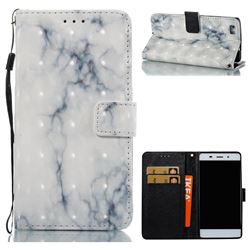 White Gray Marble 3D Painted Leather Wallet Case for Huawei P8 Lite P8lite