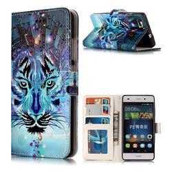 Ice Wolf 3D Relief Oil PU Leather Wallet Case for Huawei P8 Lite P8lite