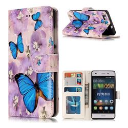 Purple Flowers Butterfly 3D Relief Oil PU Leather Wallet Case for Huawei P8 Lite P8lite