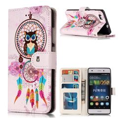 Wind Chimes Owl 3D Relief Oil PU Leather Wallet Case for Huawei P8 Lite P8lite