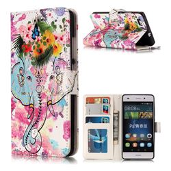 Flower Elephant 3D Relief Oil PU Leather Wallet Case for Huawei P8 Lite P8lite