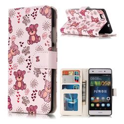 Cute Bear 3D Relief Oil PU Leather Wallet Case for Huawei P8 Lite P8lite