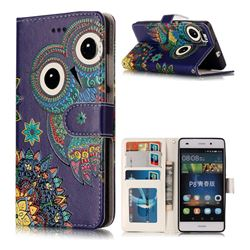 Folk Owl 3D Relief Oil PU Leather Wallet Case for Huawei P8 Lite P8lite