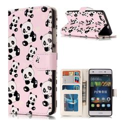 Cute Panda 3D Relief Oil PU Leather Wallet Case for Huawei P8 Lite P8lite