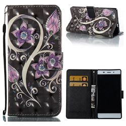 Peacock Flower 3D Painted Leather Wallet Case for Huawei P8 Lite P8lite