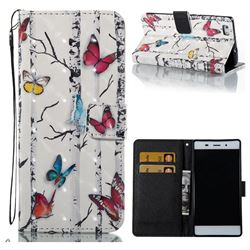 Colored Butterflies 3D Painted Leather Wallet Case for Huawei P8 Lite P8lite
