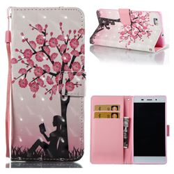 Plum Girl 3D Painted Leather Wallet Case for Huawei P8 Lite P8lite