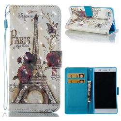 Flower Eiffel Tower 3D Painted Leather Wallet Case for Huawei P8 Lite P8lite